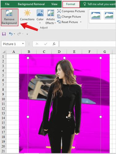 Xóa bỏ nền ảnh trên Excel bằng cách vào Format > Remove Background