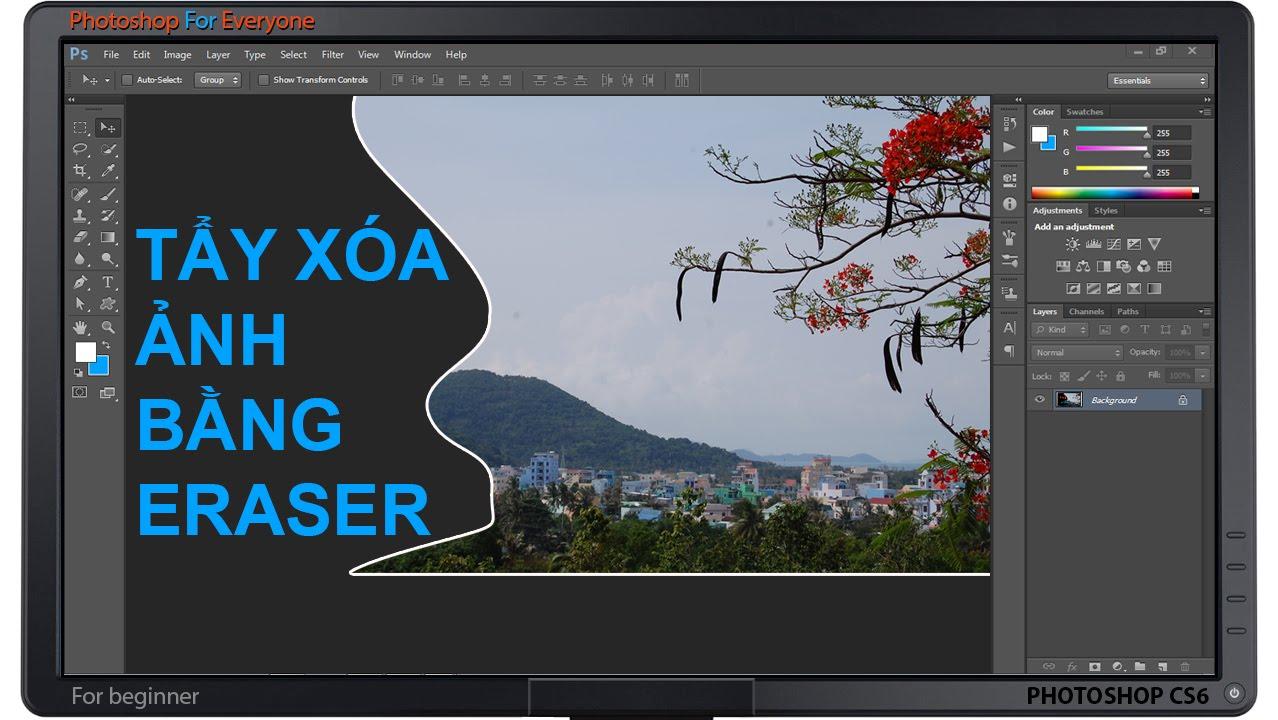 Photoshop CS6: Tẩy xóa ảnh bằng Eraser Tool. - YouTube